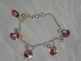 New Lampworked Glass Bead and Silver Ball Bracelet with Matching Earrings (Sold)